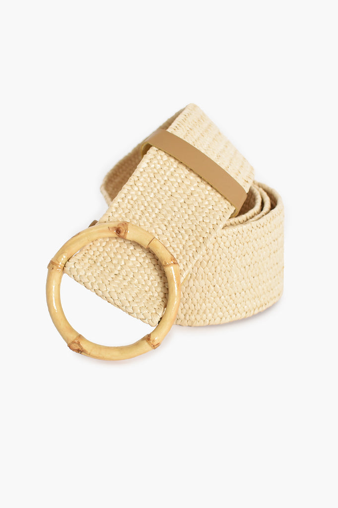 Load image into Gallery viewer, BAMBOO BUCKLE STRETCH BELT - CREAM AND NATURAL
