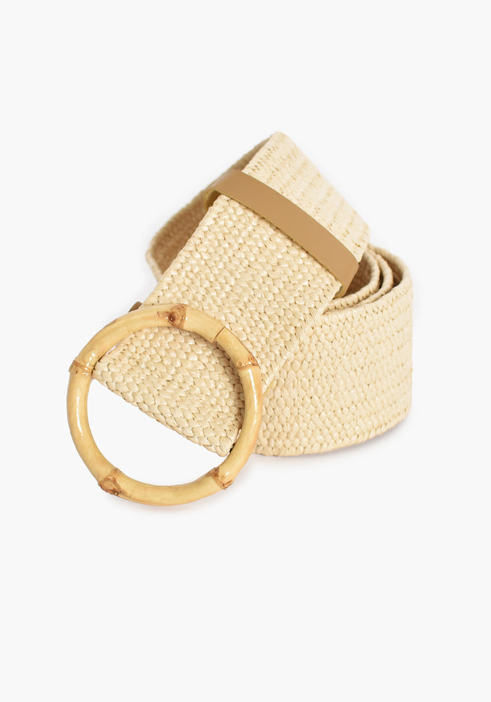 BAMBOO BUCKLE STRETCH BELT - CREAM AND NATURAL