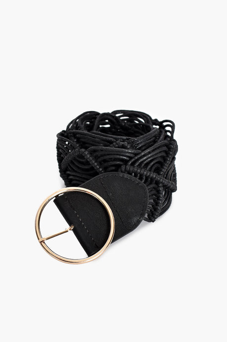 SIMPLE BUCKLE MACRAME BELT - BLACK