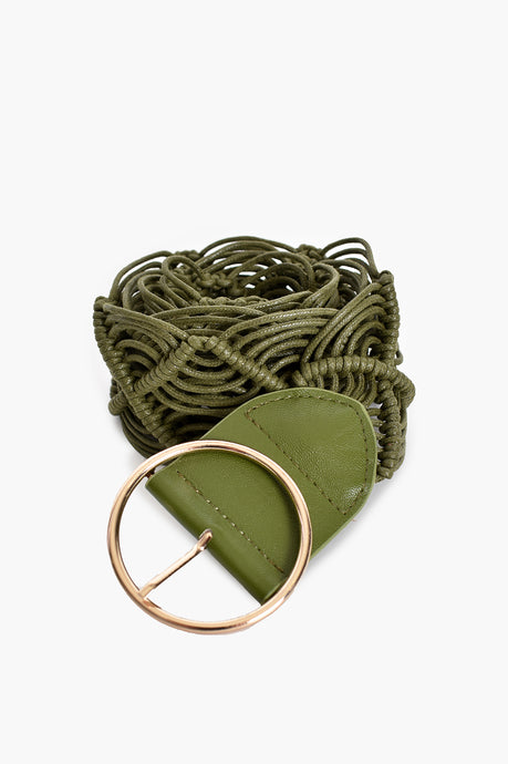 SIMPLE BUCKLE MACRAME BELT - KHAKI