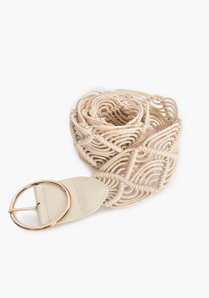 SIMPLE BUCKLE MACRAME BELT - IVORY