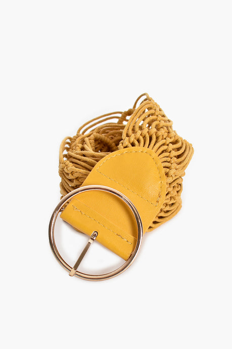 SIMPLE BUCKLE MACRAME BELT - YELLOW