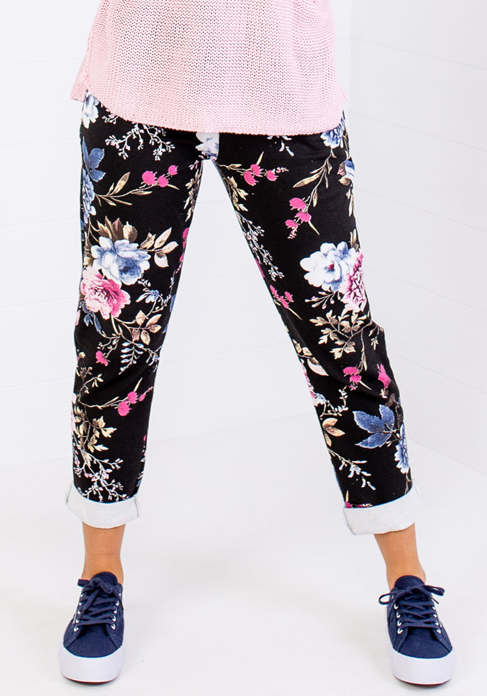 LA STRADA ADELLE BLACK PULL ON PANTS - FLORAL PRINT