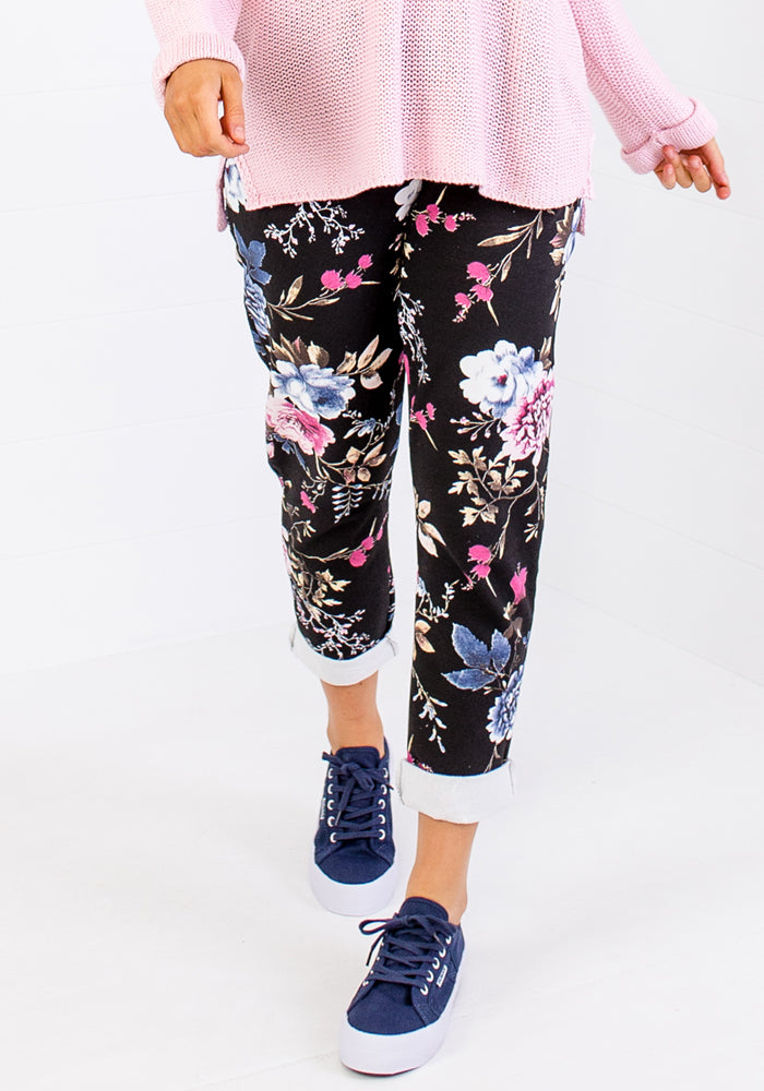 Load image into Gallery viewer, LA STRADA ADELLE BLACK PULL ON PANTS - FLORAL PRINT