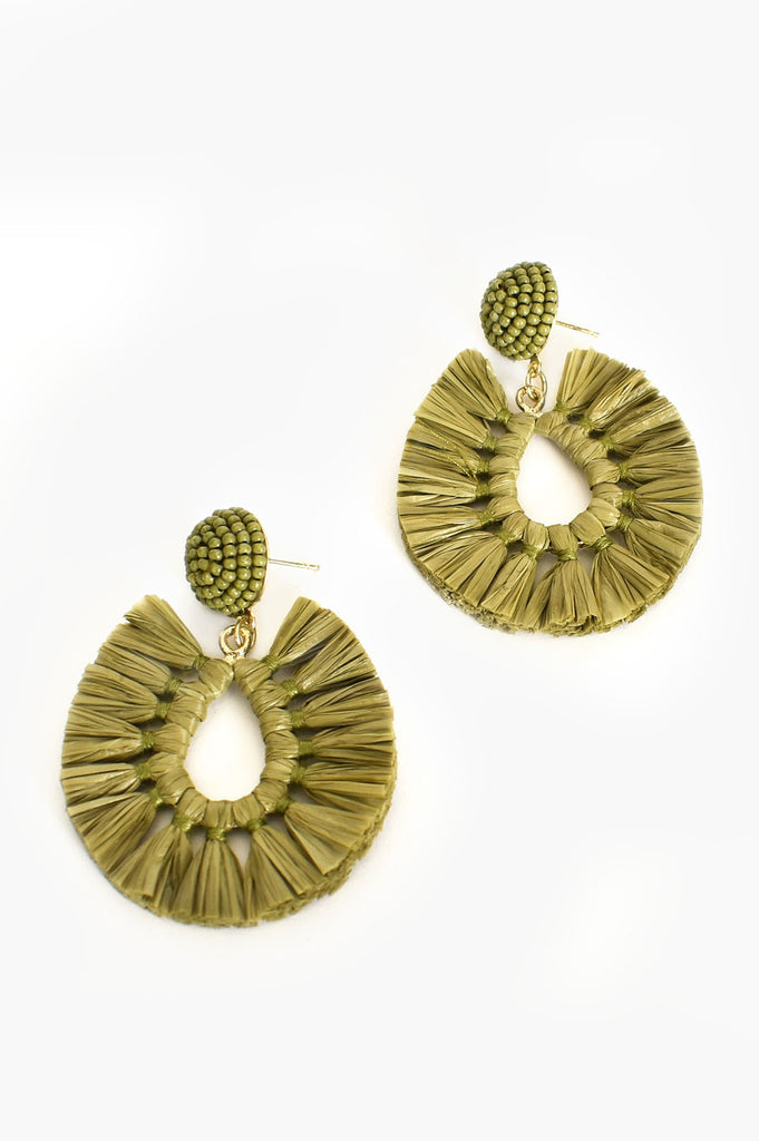 Load image into Gallery viewer, ADORNE - VIVA RAFFIA BEADED TOP EARRINGS - KHAKI