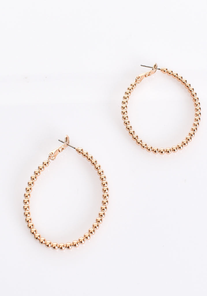Load image into Gallery viewer, BEADED BALL HOOP EARRINGS- GOLD