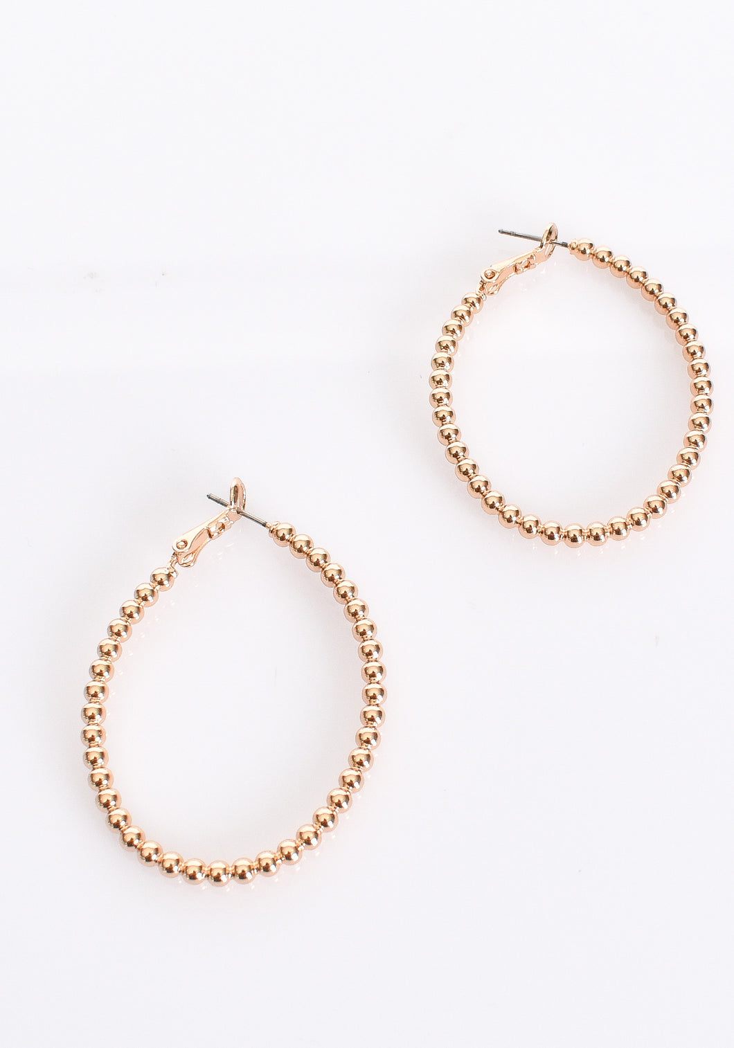 BEADED BALL HOOP EARRINGS- GOLD