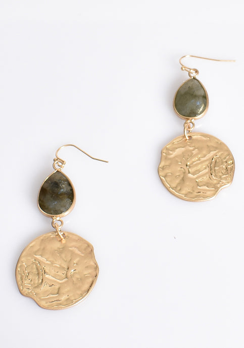 STONE TEARDROP AND CIRCLE EARRING - GREEN GOLD