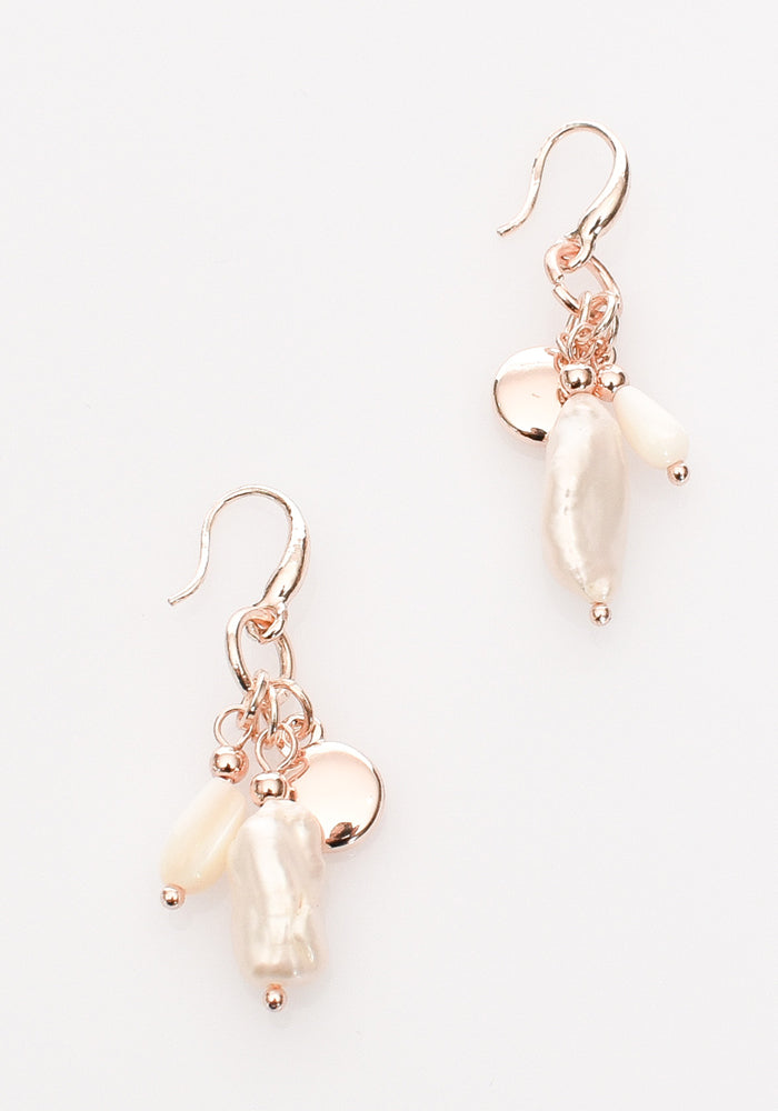 FRESH WATER PEARL CLUSTER EARRING - ROSE GOLD