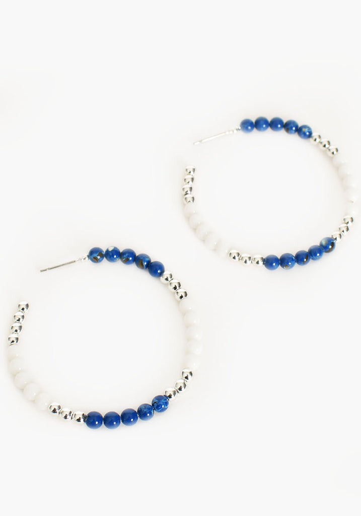 Load image into Gallery viewer, FINE BEADED HOOP EARRINGS - BLUE