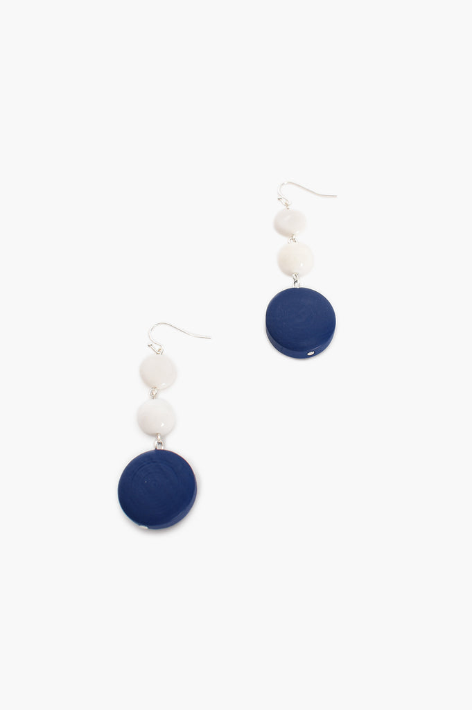 Load image into Gallery viewer, ADORNE - TIMBER GLASS BEAD HOOK EARRINGS - BLUE AND WHITE