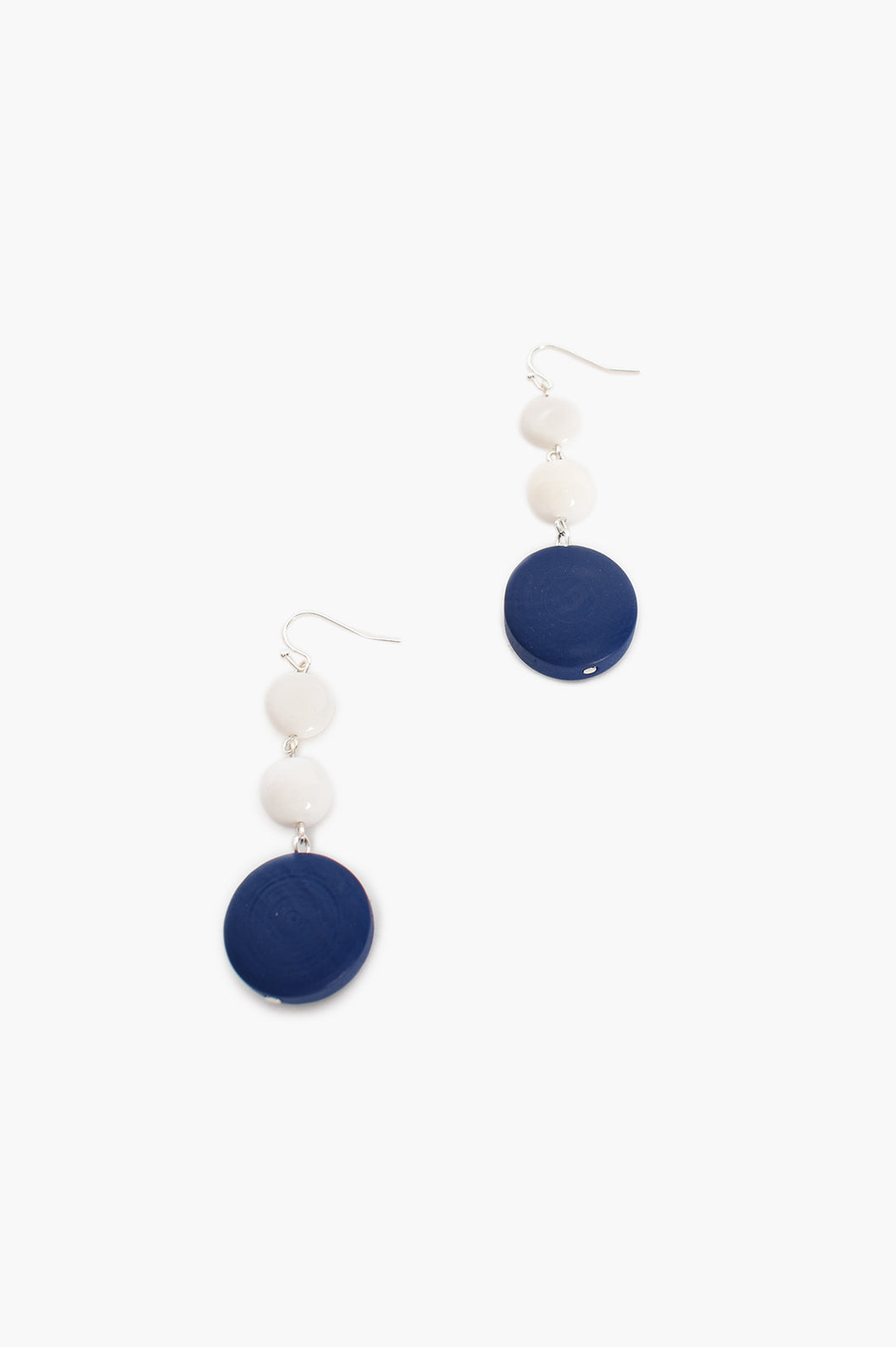 ADORNE - TIMBER GLASS BEAD HOOK EARRINGS - BLUE AND WHITE
