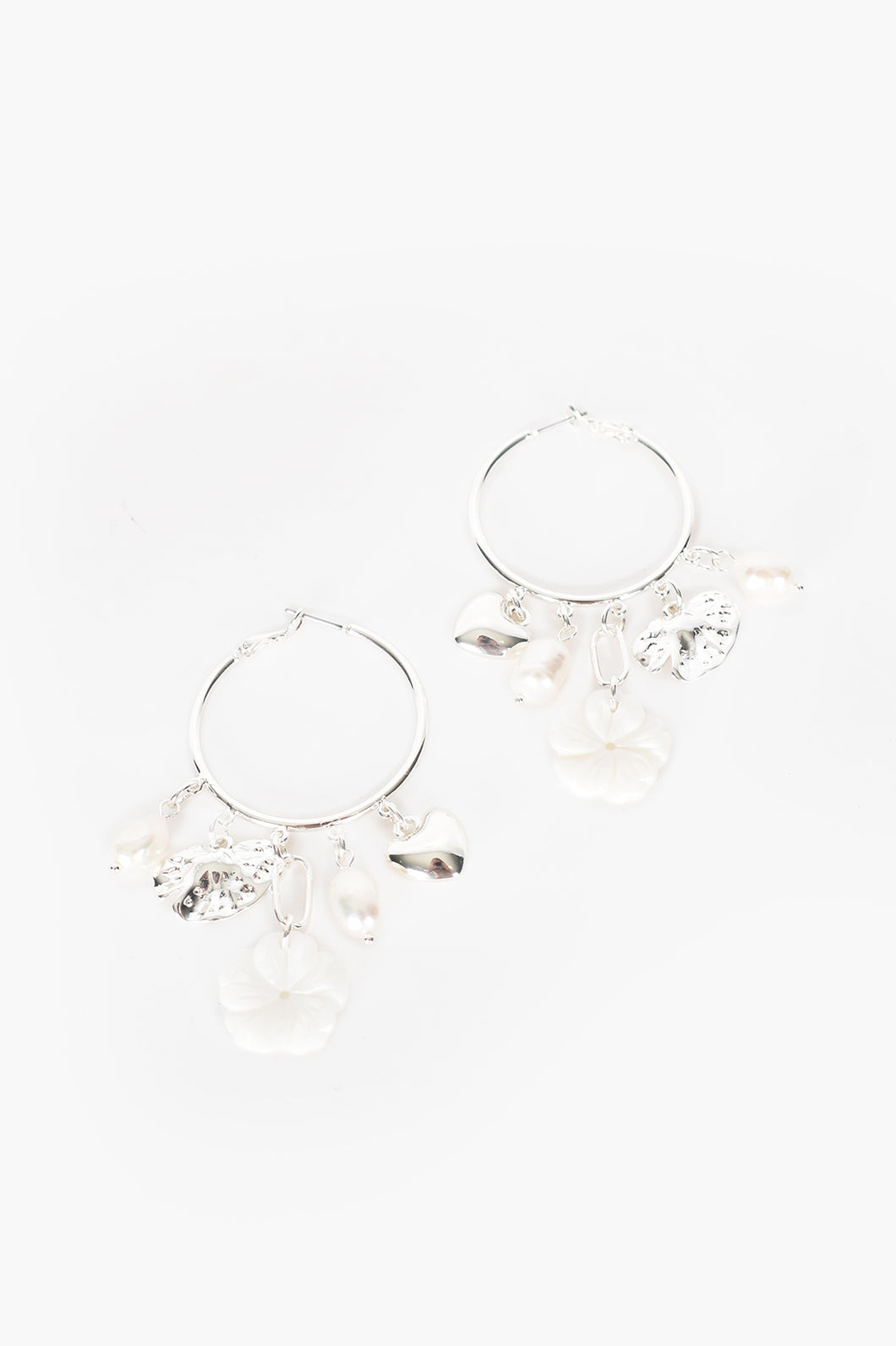 ADORNE- MIXED CHARMS HOOP EARRINGS- SILVER AND CREAM