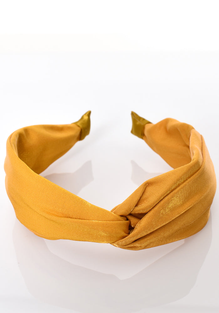 Load image into Gallery viewer, SATIN KNOT HEADBAND - MUSTARD