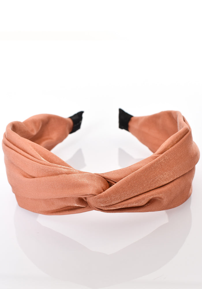 SATIN KNOT HEADBAND - PEACH