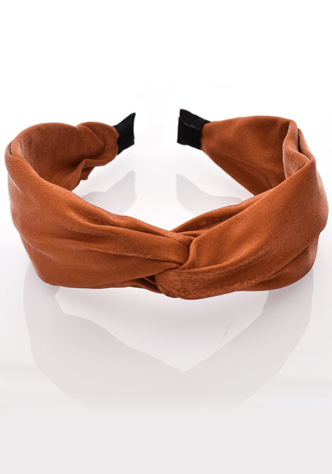 SATIN KNOT HEADBAND - TAN
