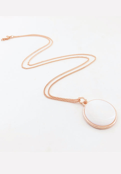 MOTHER OF PEARL DISC LONG NECKLACE - ROSE GOLD
