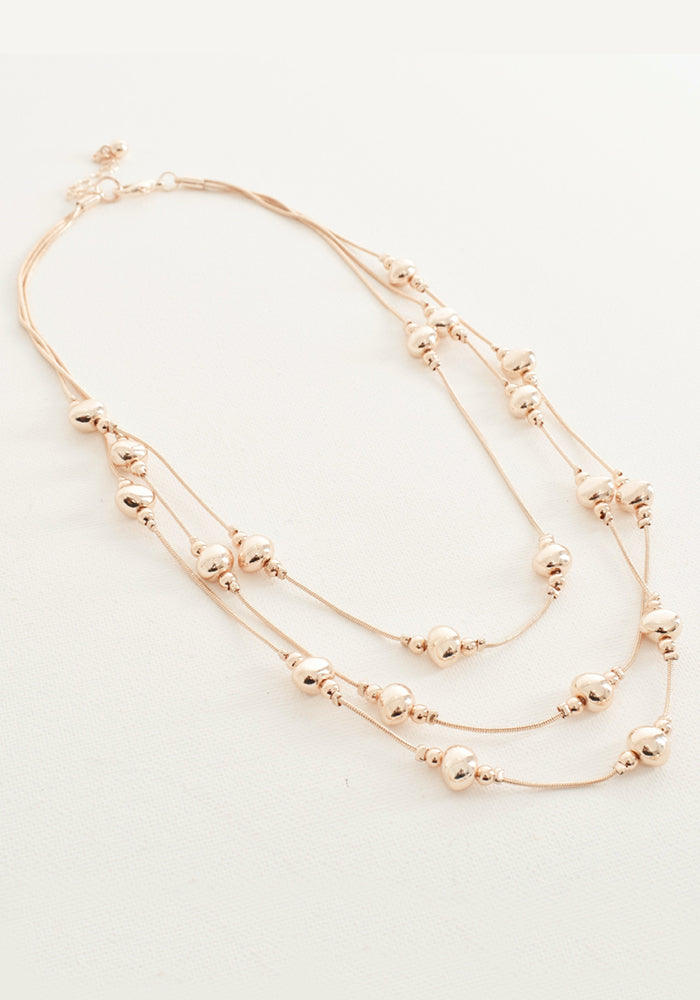 BEAD INTERVALS SHORT NECKLACE - ROSE