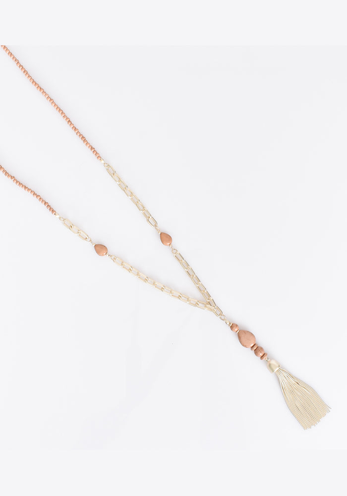 STONE BACK METAL TASSEL NECKLACE - CAMEL GOLD