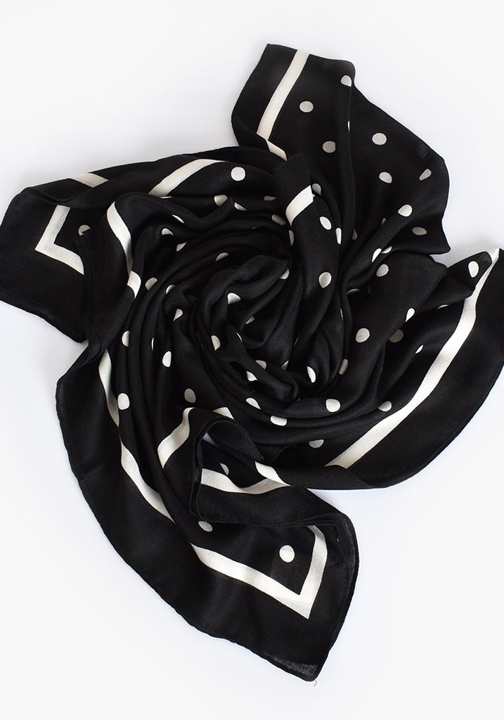 Load image into Gallery viewer, SPOT BORDER SCARF- BLACK