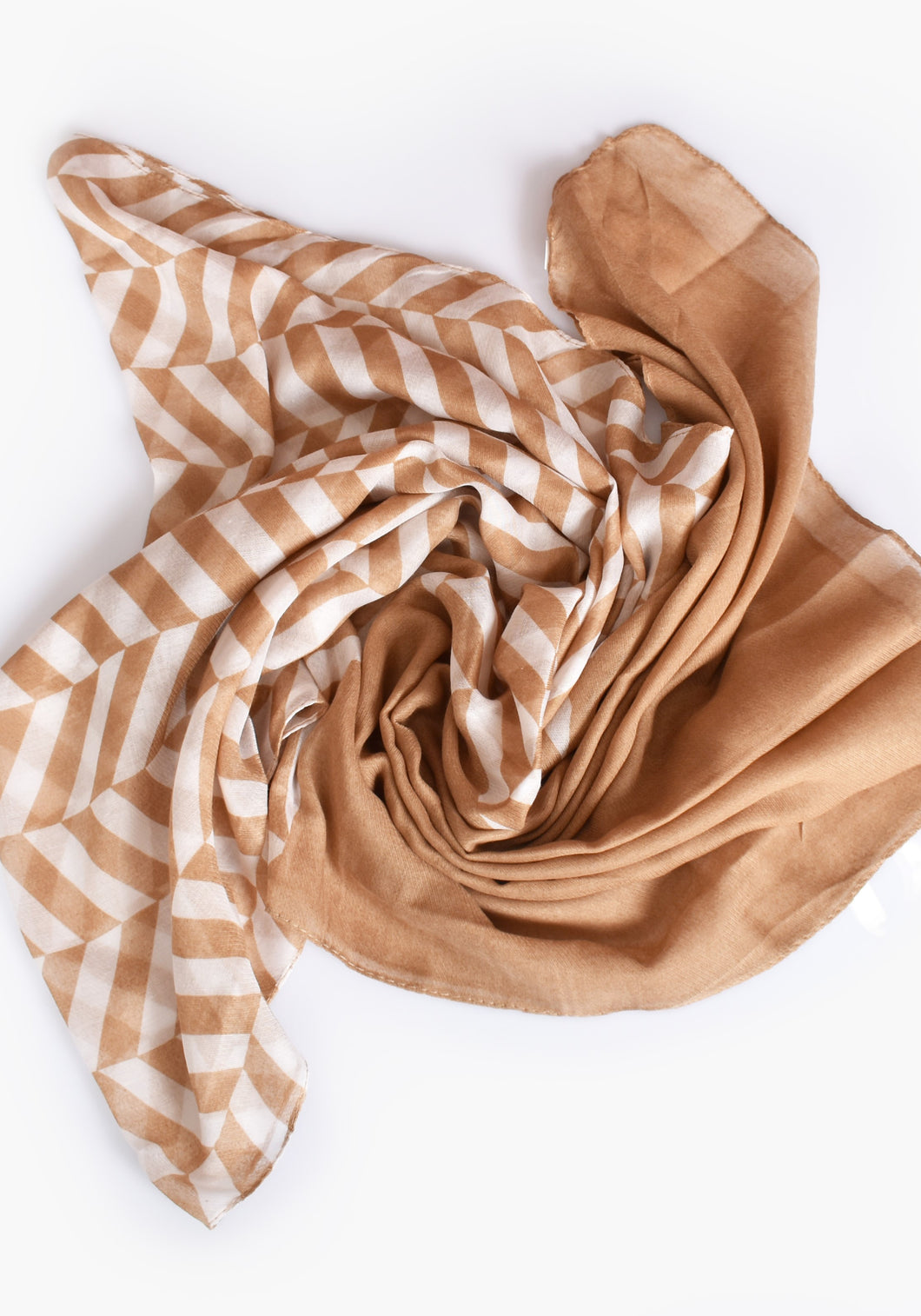BASIC STRIPE SCARF- CAMEL