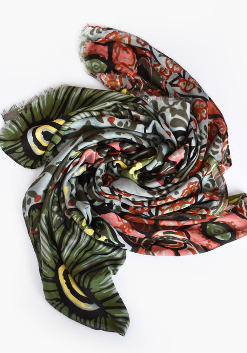 BOLD ABSTRACT FLORAL SCARF- BLUE AND GREEN