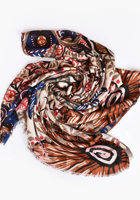 BOLD ABSTRACT FLORAL SCARF- MOCHA