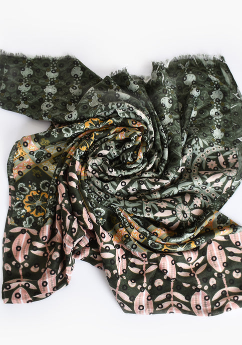 MIXED PRINT FRAYED EDGE SCARF- GREEN