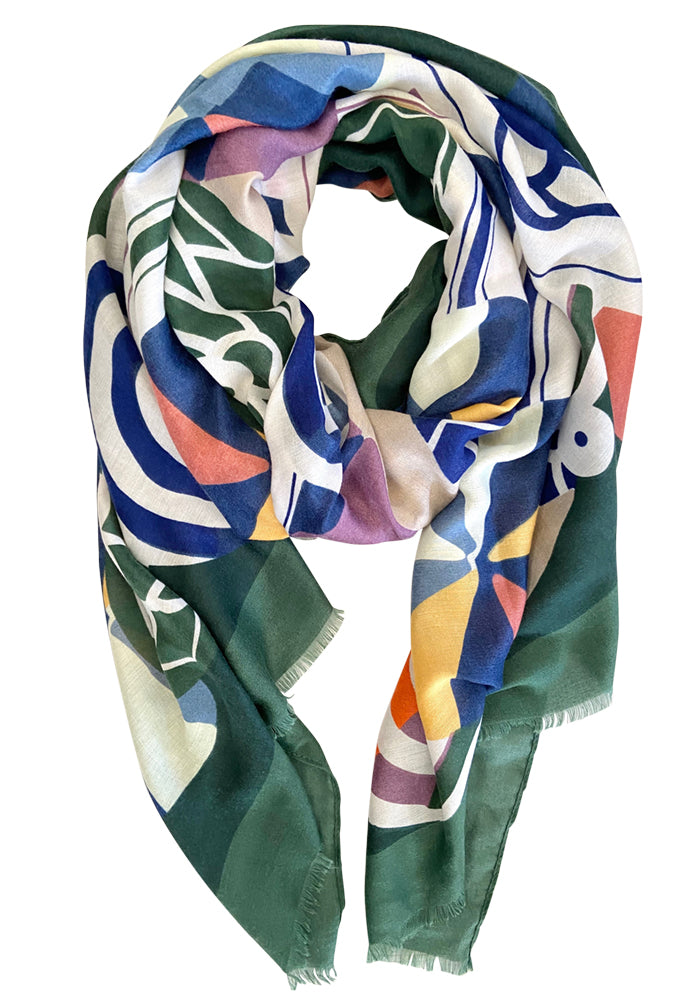 MID WEIGHT OVERSIZED SCARF - EMERALD SWIRL