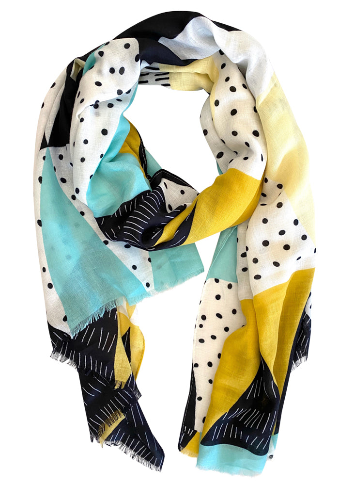 Load image into Gallery viewer, MID WEIGHT SCARF - AQUA SPOT PRINT