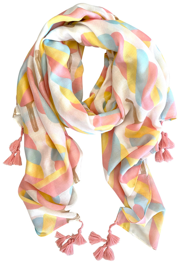 MID WEIGHT PASTEL POP PRINT SCARF
