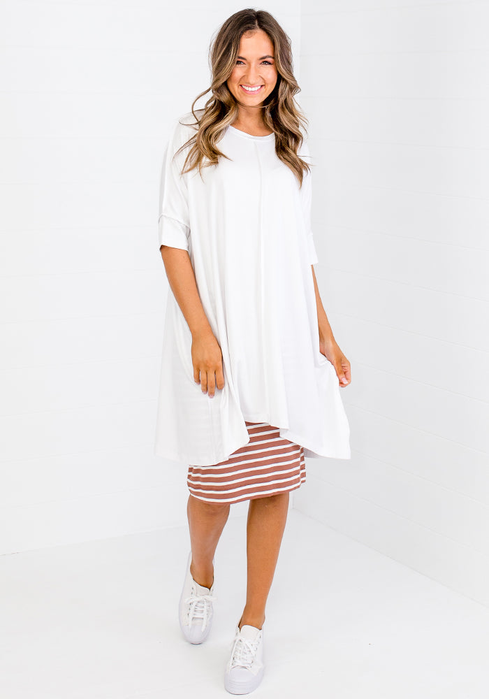Load image into Gallery viewer, BAMBOO BARDOT TUNIC - WHITE