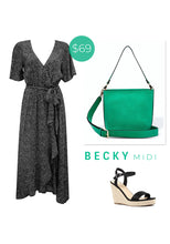 Load image into Gallery viewer, BECKY MONOTONE SPOT MIDI DRESS