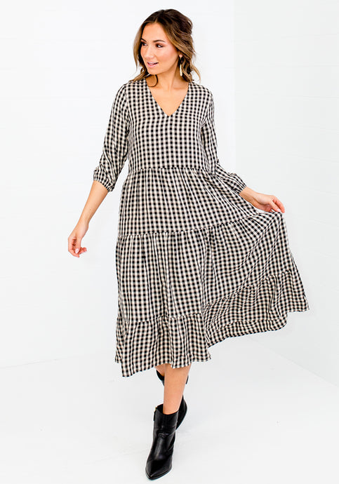 BERNIE TIERED GINGHAM DRESS - BLACK