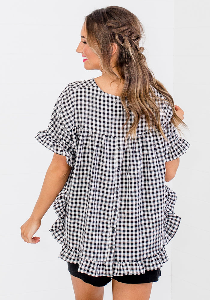 BETTY RUFFLE EDGE BUTTON BACK TOP - BLACK GINGHAM