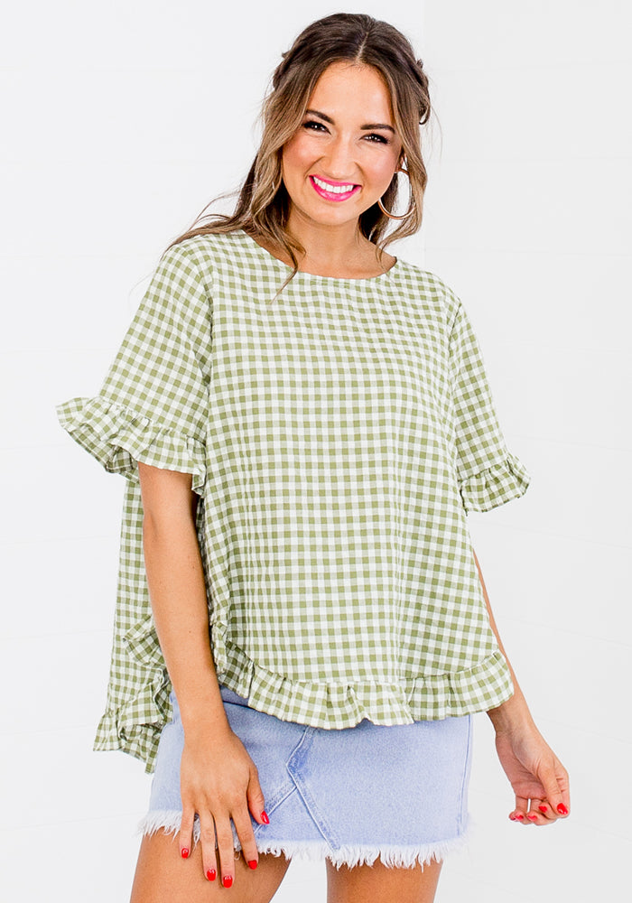 Load image into Gallery viewer, BETTY RUFFLE EDGE BUTTON BACK TOP - GREEN GINGHAM