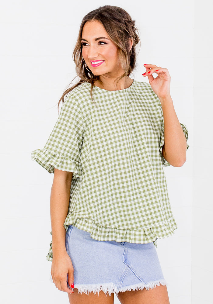 BETTY RUFFLE EDGE BUTTON BACK TOP - GREEN GINGHAM