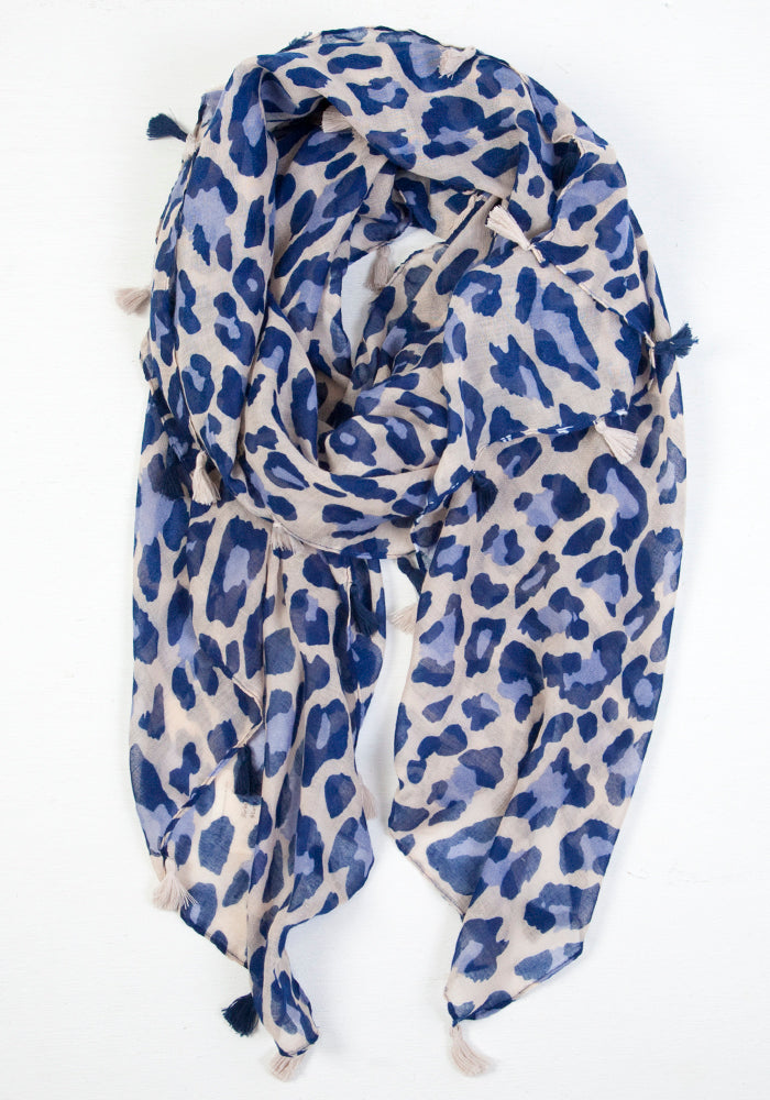 LAST ONE Blue Mustard Scarves White Navy Black Turquoise Leopard Print Scarf