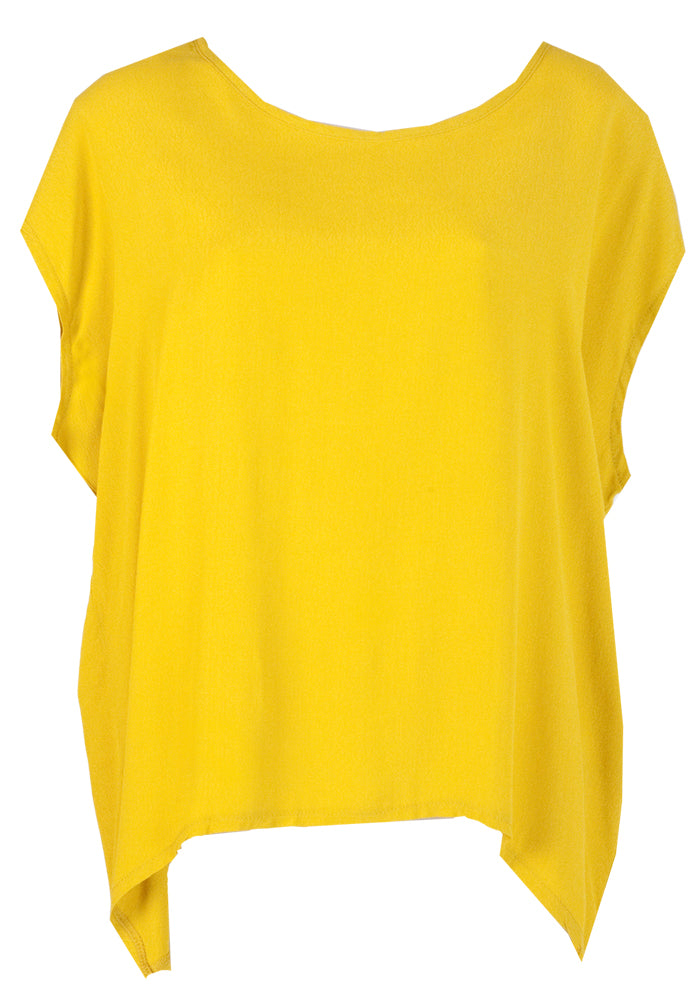 ESSENTIAL SCOOP HEM TOP - MUSTARD YELLOW