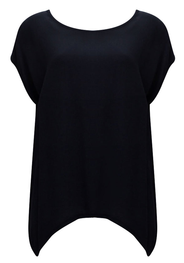 ESSENTIAL SCOOP HEM TOP - BLACK