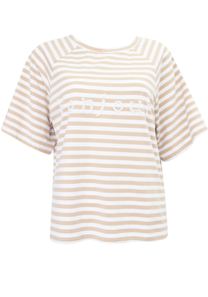 Load image into Gallery viewer, BONJOUR STRIPE BEADED TEE - NATURAL