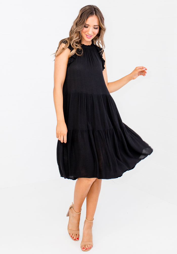 BOWDEN FRILL SLEEVE TIERED DRESS - BLACK