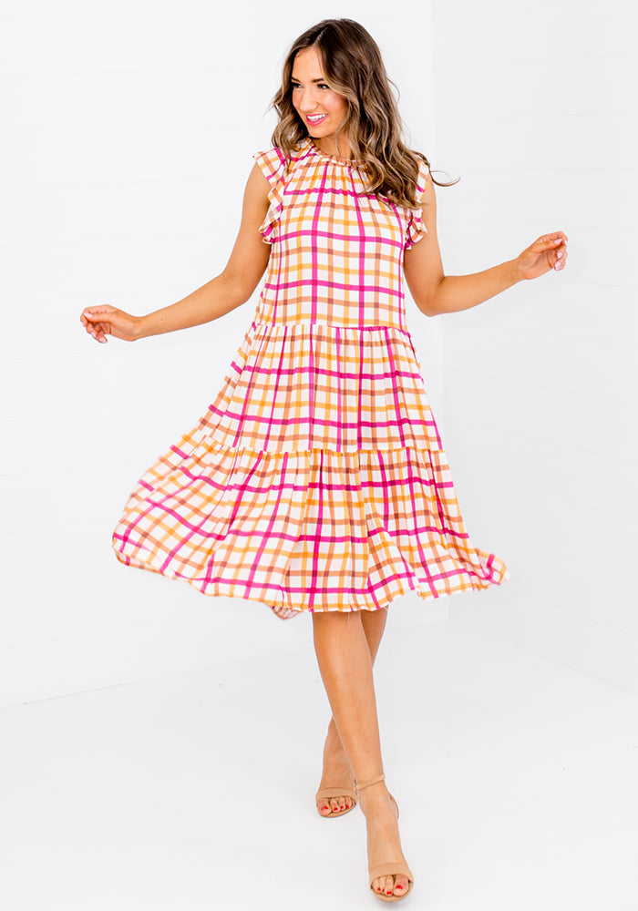 BOWDEN FRILL SLEEVE TIERED DRESS - FALKNER PRINT
