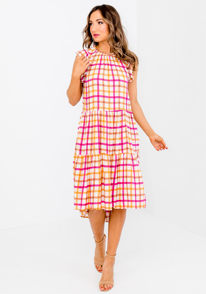 Load image into Gallery viewer, BOWDEN FRILL SLEEVE TIERED DRESS - FALKNER PRINT