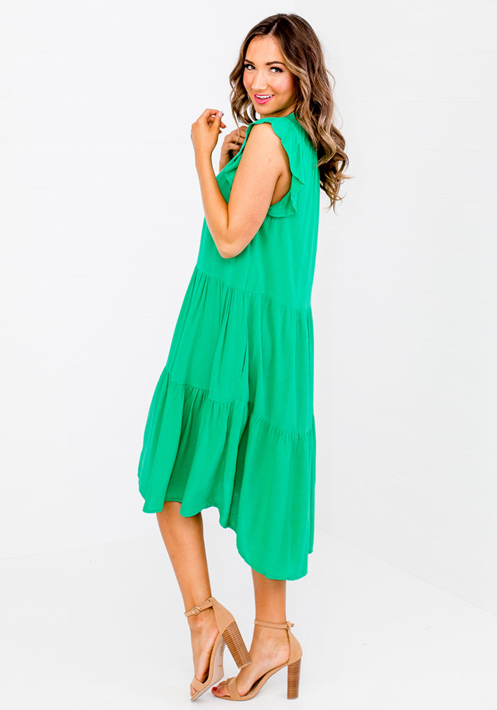 BOWDEN FRILL SLEEVE TIERED DRESS - GREEN
