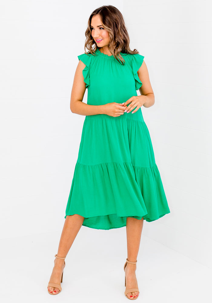 Load image into Gallery viewer, BOWDEN FRILL SLEEVE TIERED DRESS - GREEN
