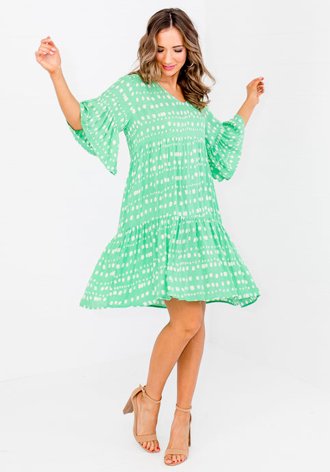 BRANDIE SPOT PRINT TIERED DRESS - GREEN