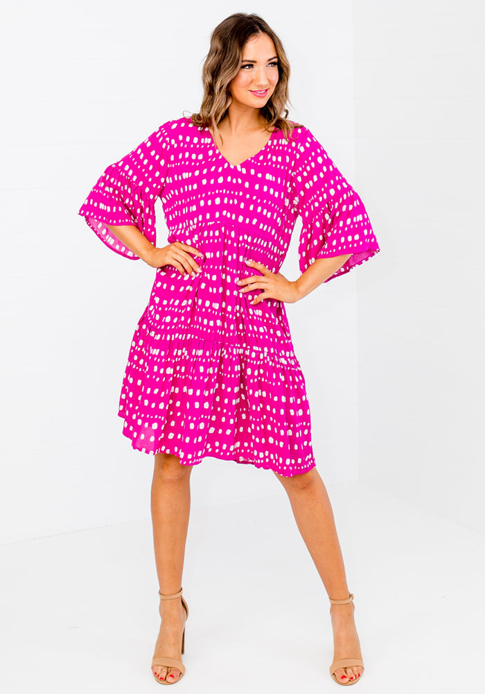 BRANDIE SPOT PRINT TIERED DRESS - PINK