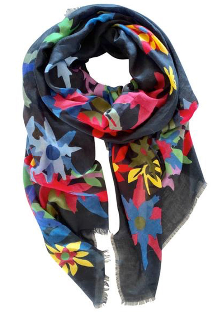 LIGHT WEIGHT SCARF - NAVY FORREST PRINT
