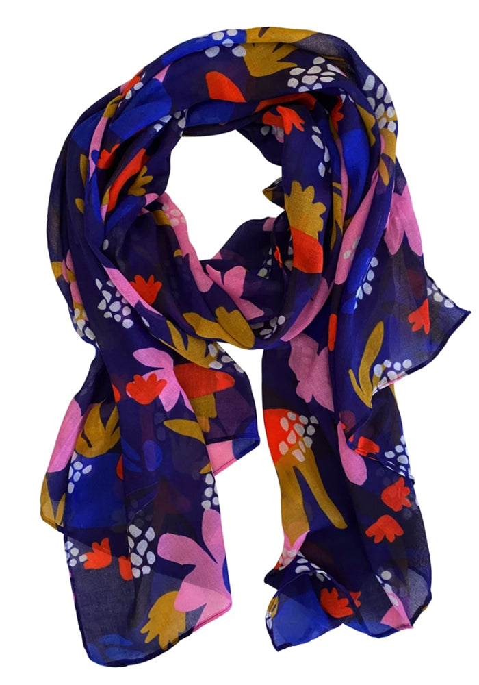 Load image into Gallery viewer, LIGHT WEIGHT SCARF - NAVY ABSTRACT